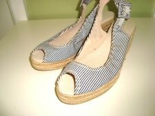 TRENERY Blue & White Stripes Summer Wedge Shoes-Size 37/7-24.5cm-NEW