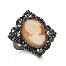 AMEDEO NYC HEMATITETONE BAVARIAN PRINCESS CAMEO MARQUISE RING SIZE 7 HSN SOLDOUT