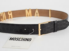 New Moschino Redwall Black Croc-Embossed Leather Belt Size 44