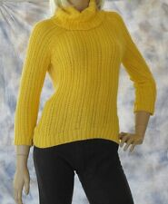 ANN TAYLOR LOFT Turtleneck Sweater Sz S Bright Yellow 100% Acrylic Easy Care
