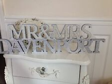 Mr & Mrs Top Table Sign, Surname, Diamantes & Pearls, Freestanding, Wooden