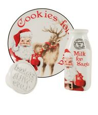 Fitz And Floyd Letters to Santa 3 Pc Set,  Plate, Milk Bottle & Cookie Press New
