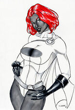 MYSTIC POWER GIRL BY EDSON VIANA- ART PINUP Drawing Original