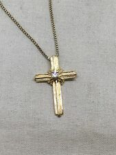 """16"""" Sterling Silver Vermeil Necklace With Cross Pendant 55-19"""