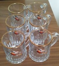 dema flying pheasants glasses x 6 half pint tankards