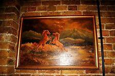 Enorme 20th SECOLO DIPINTO AD OLIO americana Fauna Selvatica Mustang Wild Horses folkart