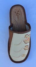 Ladies Womens  Soft Sheep Leather Slippers Shoes Sandal Ivory / Brown  Handmade