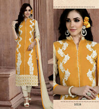 YELLOW-CREAM CHANDERI SILK SALWAR KAMEEZ SUIT DRESS MATERIAL w EMBR LADIES DEN