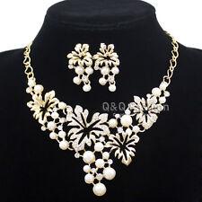 Jubilee Romance Flapper Gatsby Gold Leaf Pearl Bridal Bib Necklace & Earrings