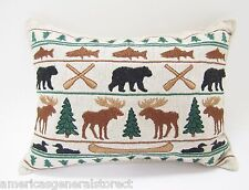 "BALSAM FIR PILLOW 5""x7"" EMBROIDERED LODGE pine sachet scent bear moose tree loon"