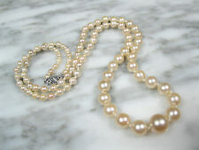 HIGH QUALITY VICTORIAN AKOYA PEARL MATINEE LENGTH NECKLACE 14K WHITE GOLD CLASP