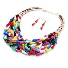 Chunky Gold Multi Color Beaded Layered Bohemian Style Statement Necklace Set