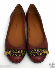 New Marc Jacobs burgundy leather grommet zipper flats EU 37/ UK 4.5