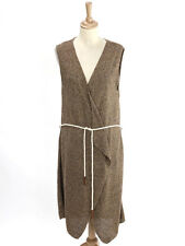 Massimo Dutti Womens Brown Linen Rope Tie Sleeveless Cardigan Size L (UK 14)
