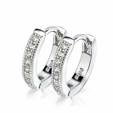 925 STERLING SILVER CZ AAA+ SMALL Diamonique ROUND HUGGIE HOOP EARRINGS