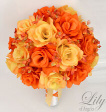 17 Piece Package Silk Flower Wedding Bridal Bouquets Autumn Fall ORANGE YELLOW