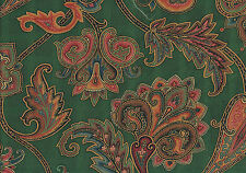 "WAVERLY STOCKTON GREEN PAISLEY DESIGNER HOME DECOR FABRIC 100% COTTON 54"" W BTY"