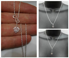 New 925 STERLING SILVER Infinity Lotus Flower Lariat style pendant Necklace 19L