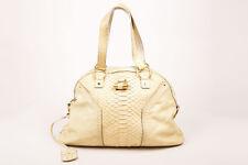 "Yves Saint Laurent Cream Python Leather ""Muse"" Satchel Shoulder Bag"