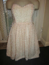 BNWT River Island Dress Size 10 £45 Pale Pink Eyelash Fluffy Prom Straps Boned