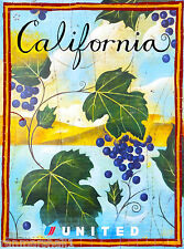 California Wine Country Vintage United States Travel Advertisement Art Poster