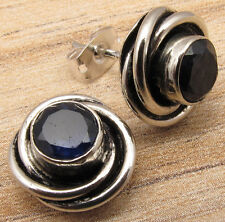 925 Sterling Silver Plated Original IOLITE SPIRAL KNOT Studs Post Earrings ART