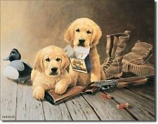 Vintage Replica Tin Metal Sign Yellow Lab puppies bullet guns hunting geese 924