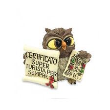 Gufi LES ALPES certificato TURISTA PER SEMPRE in resina 6,5cm novità idea regalo