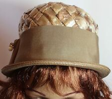 Vintage Tan Straw Lady'S Hat By Marche', Wide Ribbon Band! Adorable, Guc!