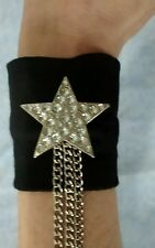 Glamourous Black Vintage Stretch Cuff Wristband With Diamanté Star BNWOT 90'S