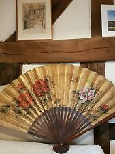 Large hand painted antique Chinese Wall Fan