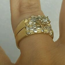 2 pc Woman's 14k Yellow Gold Round Diamond Engagement Wedding band Ring Set S5.5