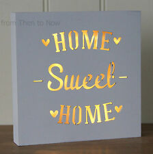 Home Sweet Home White LED Light Up Box Wall Lantern Lamp Plaque Sign Chic Shabby
