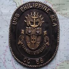 Vintage United States Navy Painted Metal Plaque Tampion Crest USS PHILIPPINE SEA