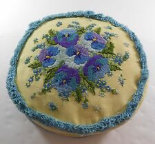Vintage Crewel Embroidered Floral Purple Blue Yellow Pansy Round Throw Pillow