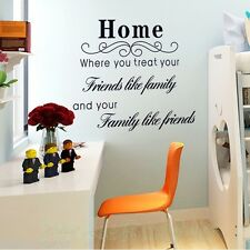 BLACK SIGN HOME FRIENDS LIKE FAMILY ROOM WALL ART STICKERS KIT HOME DECORATION