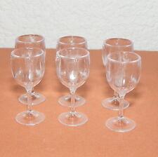 "6 Barbie Size Wine Glasses (6) - 1 3/8"" Tall - Plastic, 1:6, Dining, Dishes"
