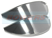 "PAIR OF 7"" STAINLESS STEEL NOT CHROME CLASSIC CAR ROUND HEADLAMP HEADLIGHT PEAKS"