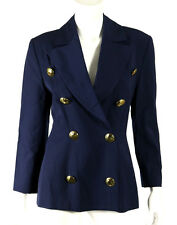 CHRISTIAN LACROIX Vintage Navy Blue Wool Gold Button Blazer Jacket 40