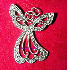 SILVER PLATED FAUX MARCASITE ANGEL  PIN BROOCH #3600