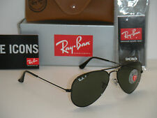 RAY BAN AVIATOR POLARIZED BLACK FRAME W/ NATURAL GREEN RB 3025 002/58 55MM SMALL