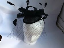 Fascinator Hat Wedding Sinamay Black Veil & Feathered on Headband Brand New - UK