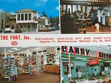 Mackinaw City Michigan The FORT Restaurant Cocktails Gift Shop Candy Postcard