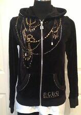 BCBG Maxazria Black Long Sleeve Sweatshirt Zip Hoodie Jacket Embellished Medium