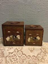 2VINTAGE wood ROOSTER CANISTER set shabby COUNTRY chic PRIMITIVE folk art