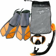 Seavenger Diving Set (Orange)L/XL Adult Size Trek Fin Single Lens Mask Bag
