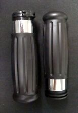 Black Vintage Style Handgrips with Chrome Accent Band for 96 & Up OEM 56275-96