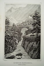 Pfaffensprung Brücke Reuss Wassen  Schweiz echte alte Lithographie 1825