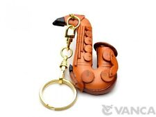 Saxophone Handmade Music 3D Leather (L) Key chain ring VANCA Made in Japan 56125