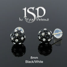 14k Gold 8mm Swarovski Elements Black White Crystal Disco Ball Studs Earrings